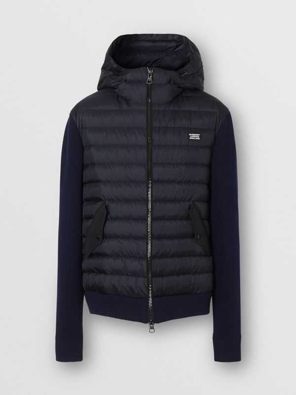 Puffer Detail Technical Knit Hooded Jacket in Navy - Men | Burberry - cell image 3