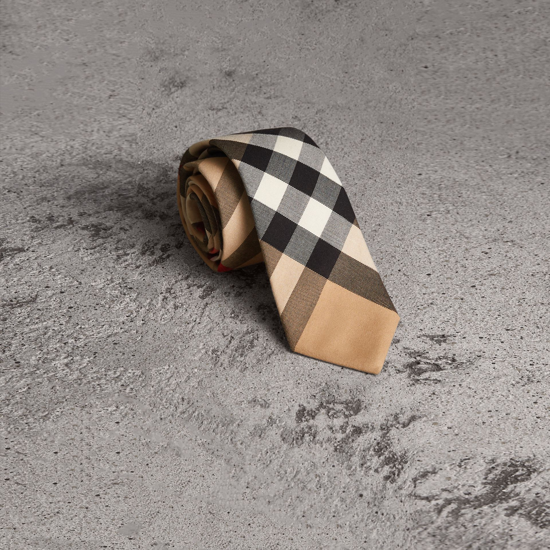 Modern Cut Check Cotton Cashmere Tie in Camel - Men | Burberry Australia - gallery image 0