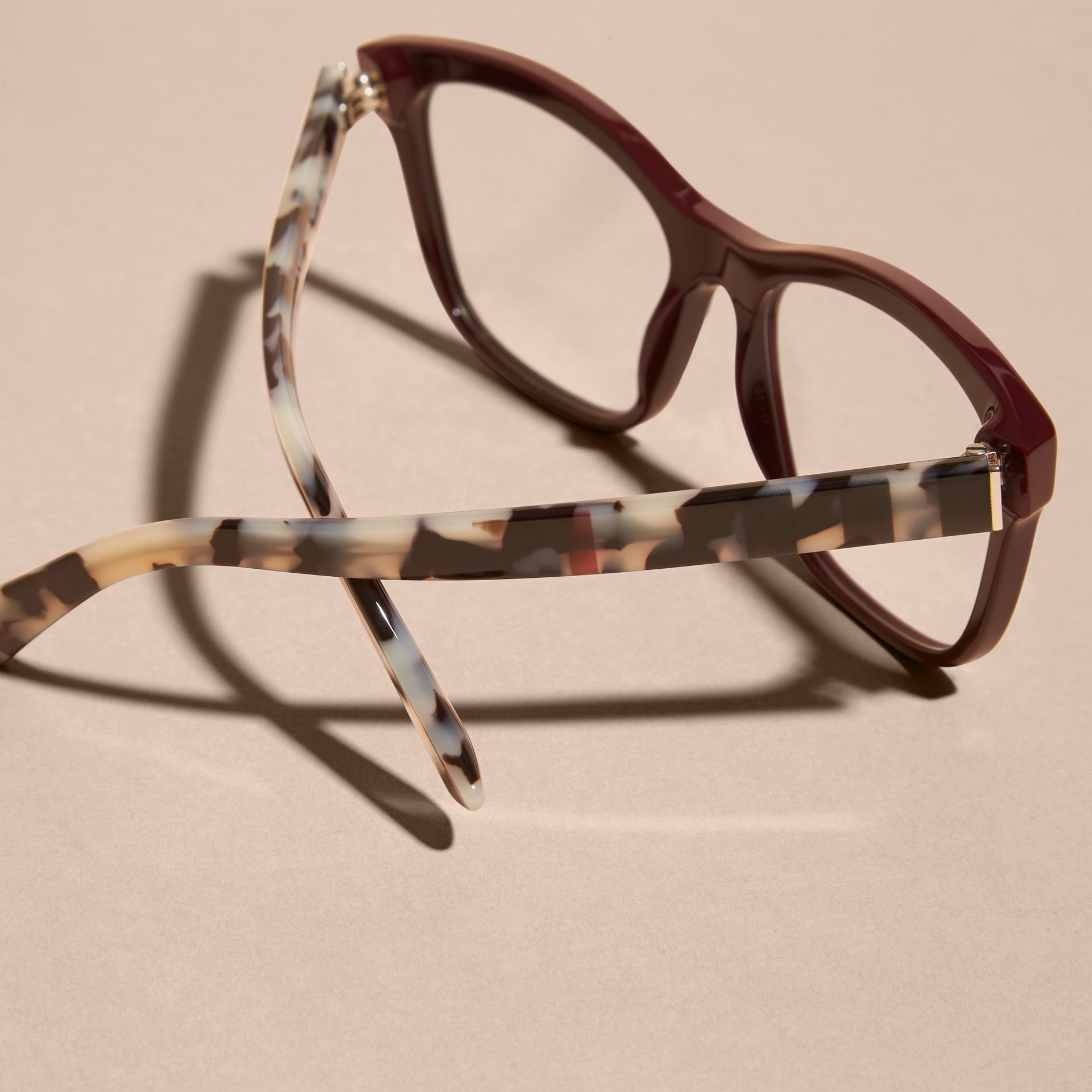 Oxblood Check Detail Square Optical Frames Oxblood - gallery image 3