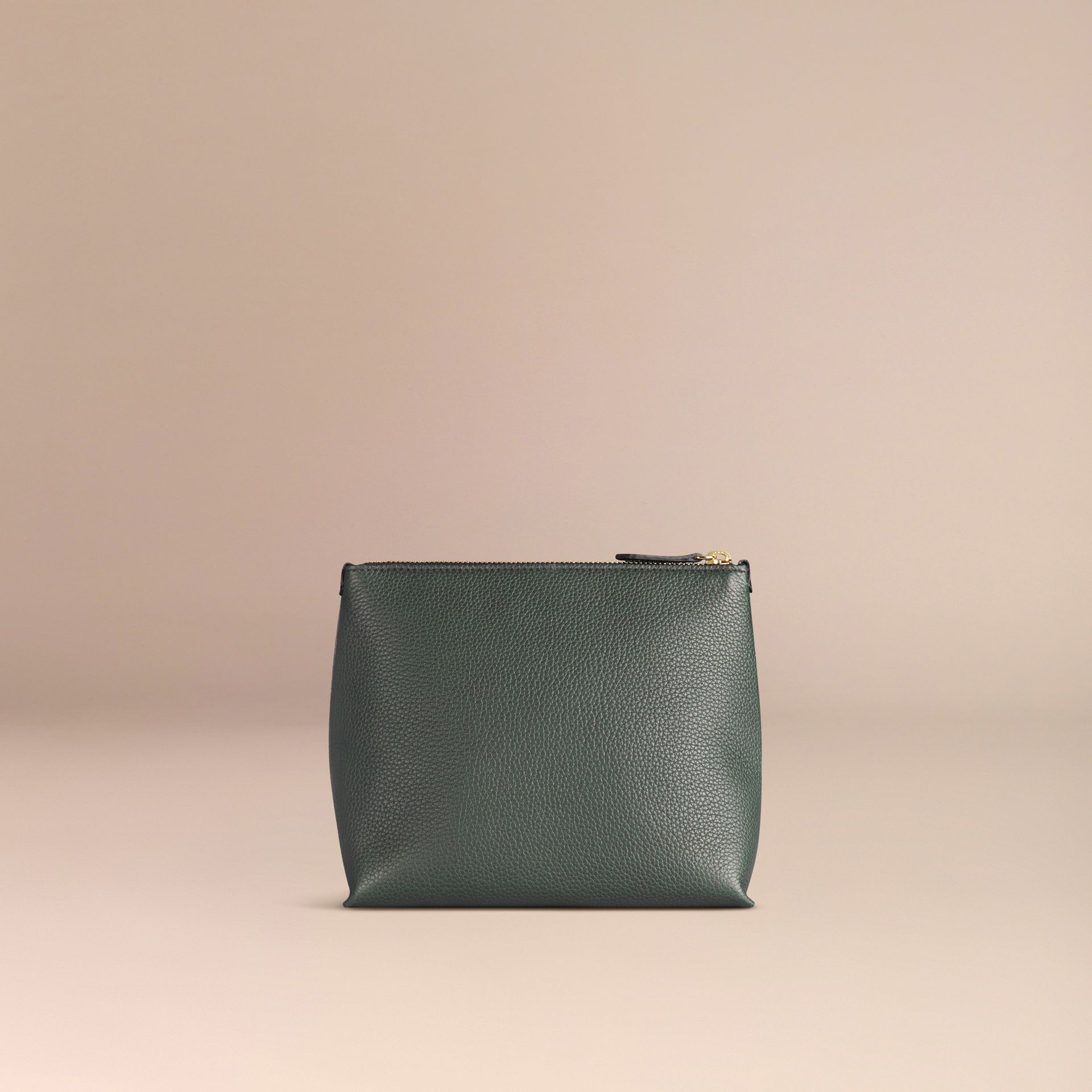 Dark forest green Grainy Leather Zipped  Pouch Dark Forest Green - gallery image 3