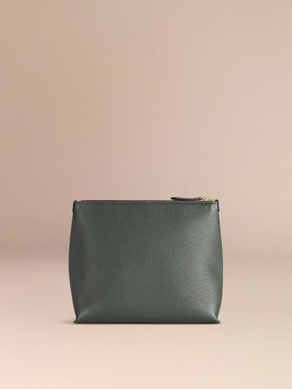 Dark forest green Grainy Leather Zipped  Pouch Dark Forest Green - cell image 2