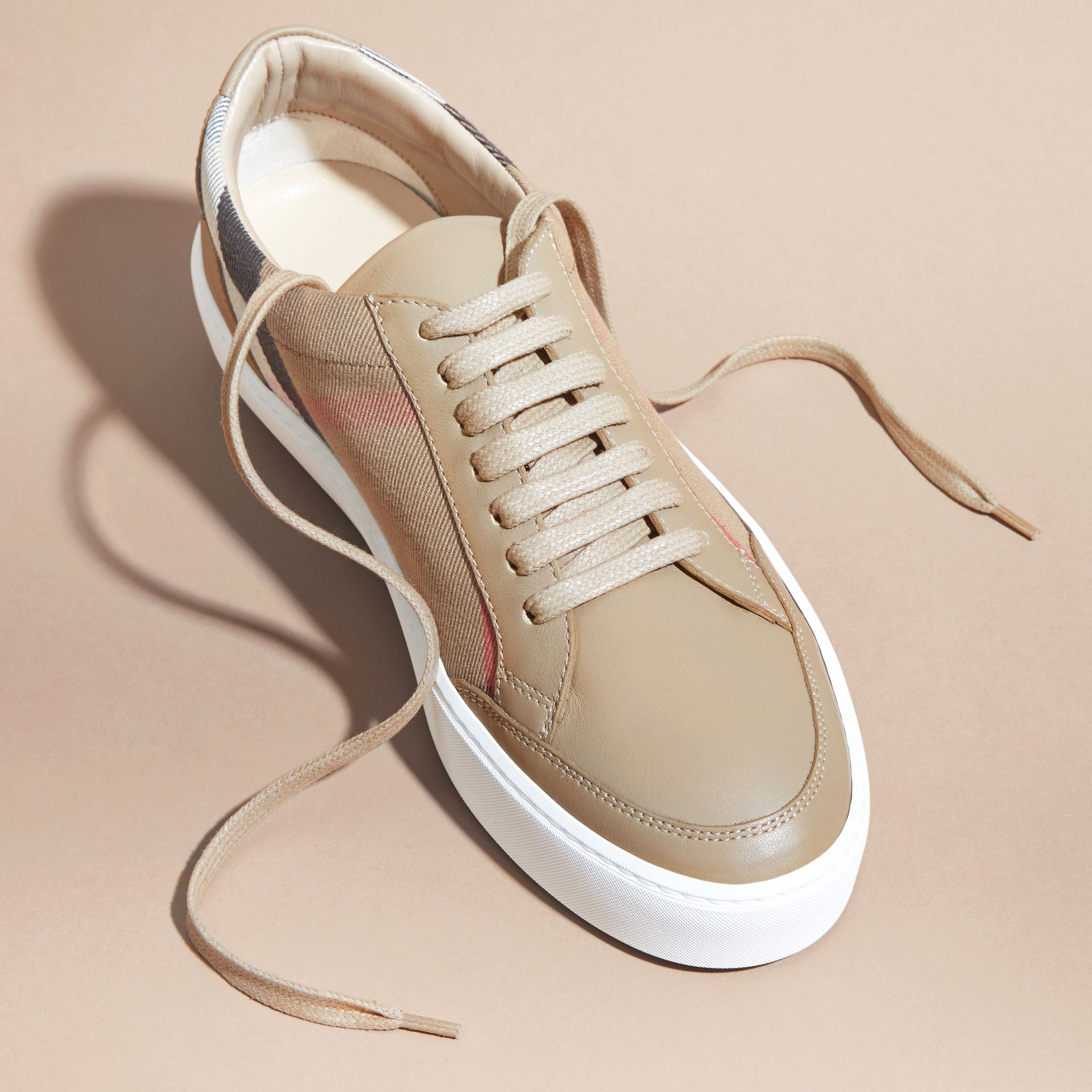 House check/ nude Check Detail Leather Sneakers House Check/ Nude - gallery image 3