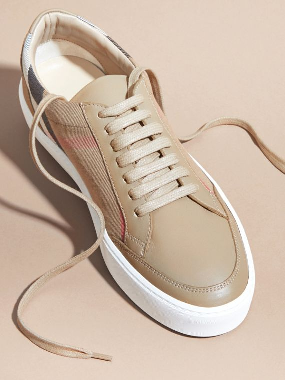 House check/ nude Check Detail Leather Sneakers House Check/ Nude - cell image 2