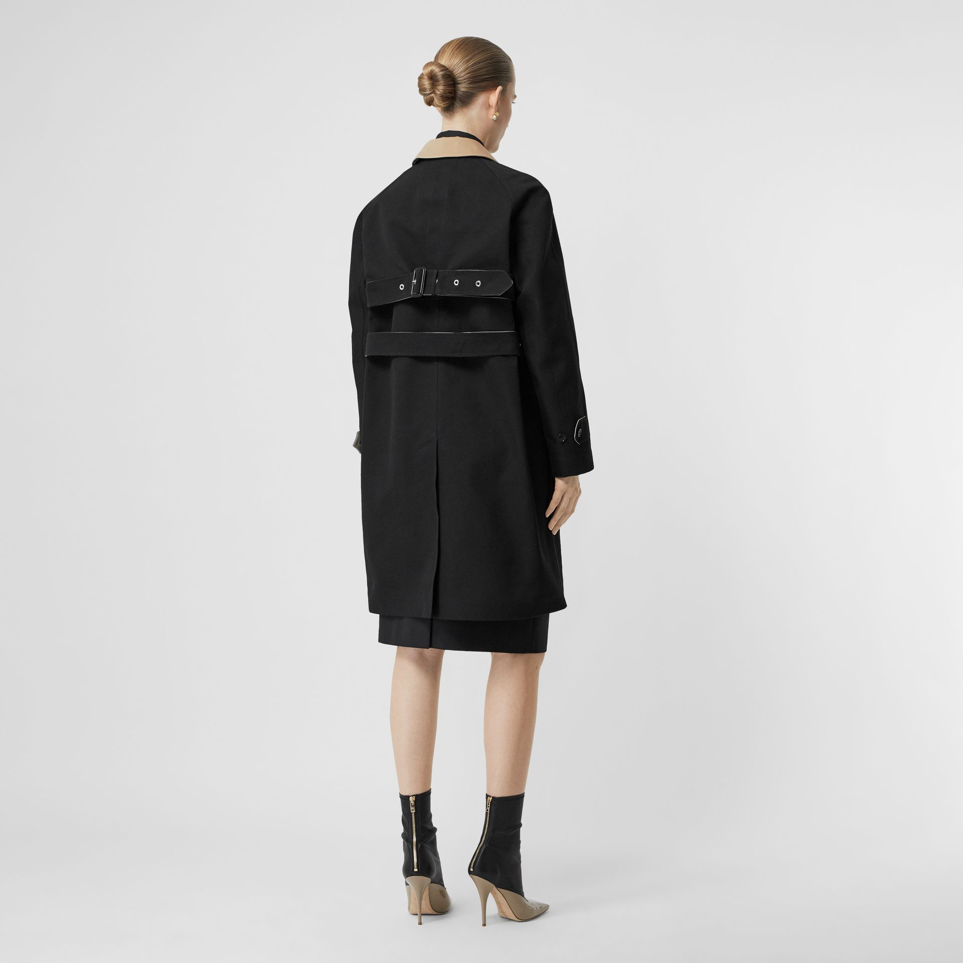 Two-tone Tropical Gabardine Belted Car Coat in Black/honey - Women | Burberry - gallery image 2