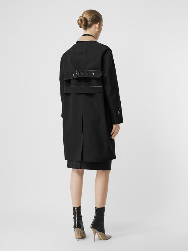 Two-tone Tropical Gabardine Belted Car Coat in Black/honey - Women | Burberry - cell image 2
