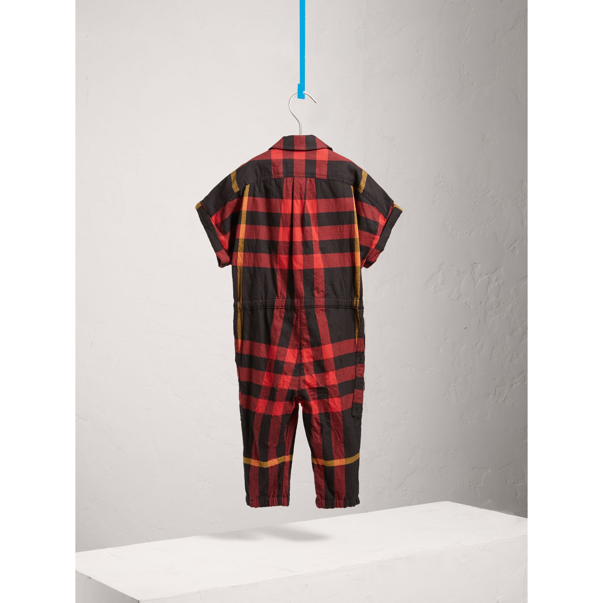Short-sleeve Check Cotton Flannel Jumpsuit in Black - Girl | Burberry Australia - gallery image 3
