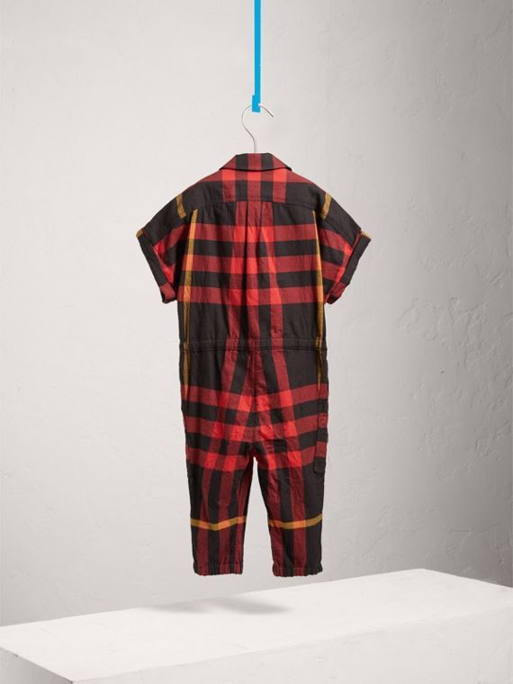 Short-sleeve Check Cotton Flannel Jumpsuit in Black - Girl | Burberry - cell image 3