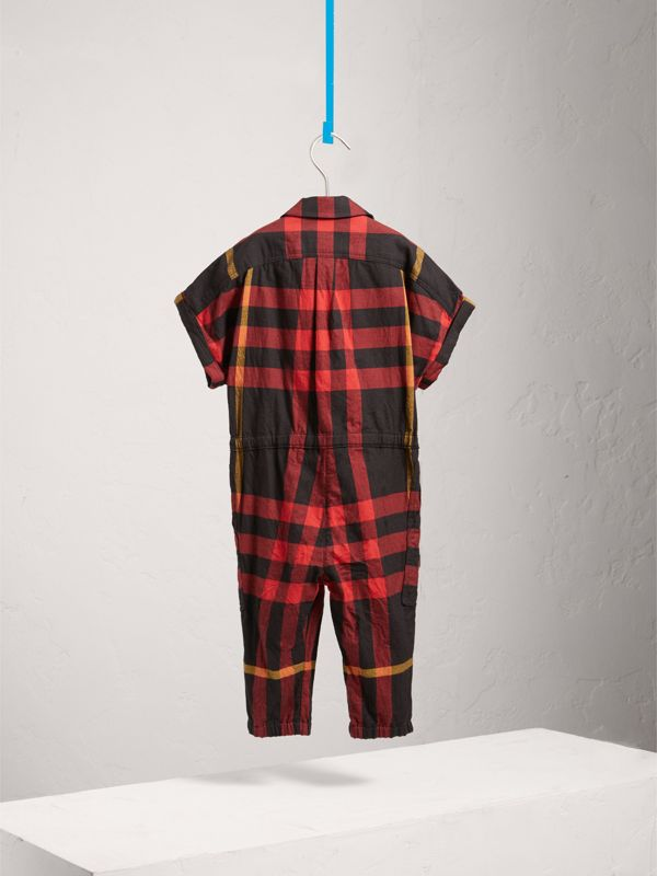 Short-sleeve Check Cotton Flannel Jumpsuit in Black | Burberry United Kingdom - cell image 3