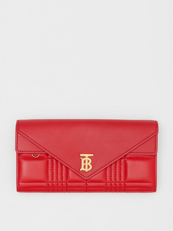 Monogram Motif Quilted Continental Wallet in Bright Red