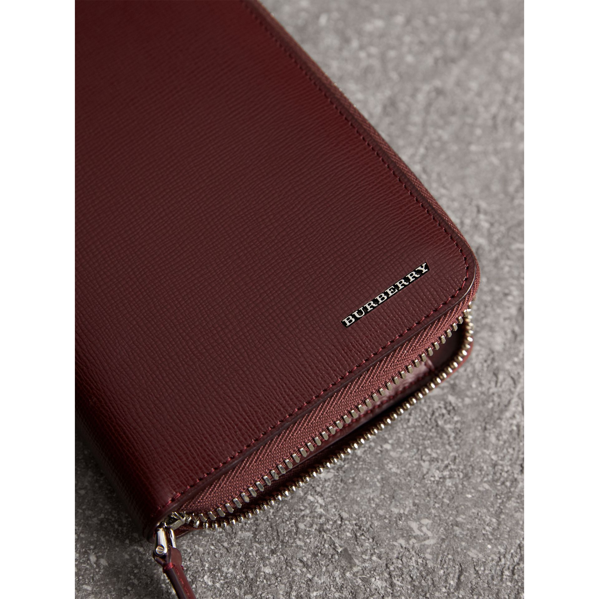London Leather Ziparound Wallet in Burgundy Red | Burberry Singapore - gallery image 1