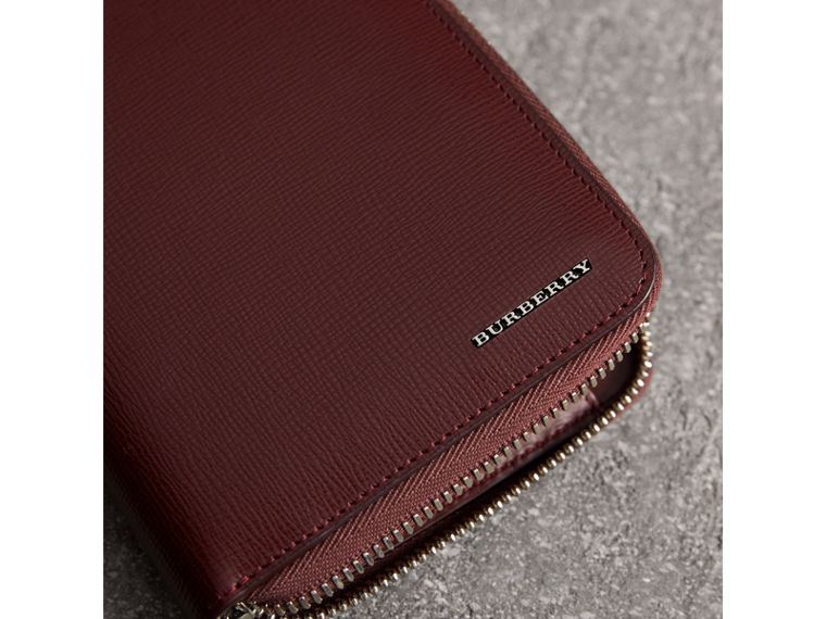London Leather Ziparound Wallet in Burgundy Red | Burberry Australia - cell image 1