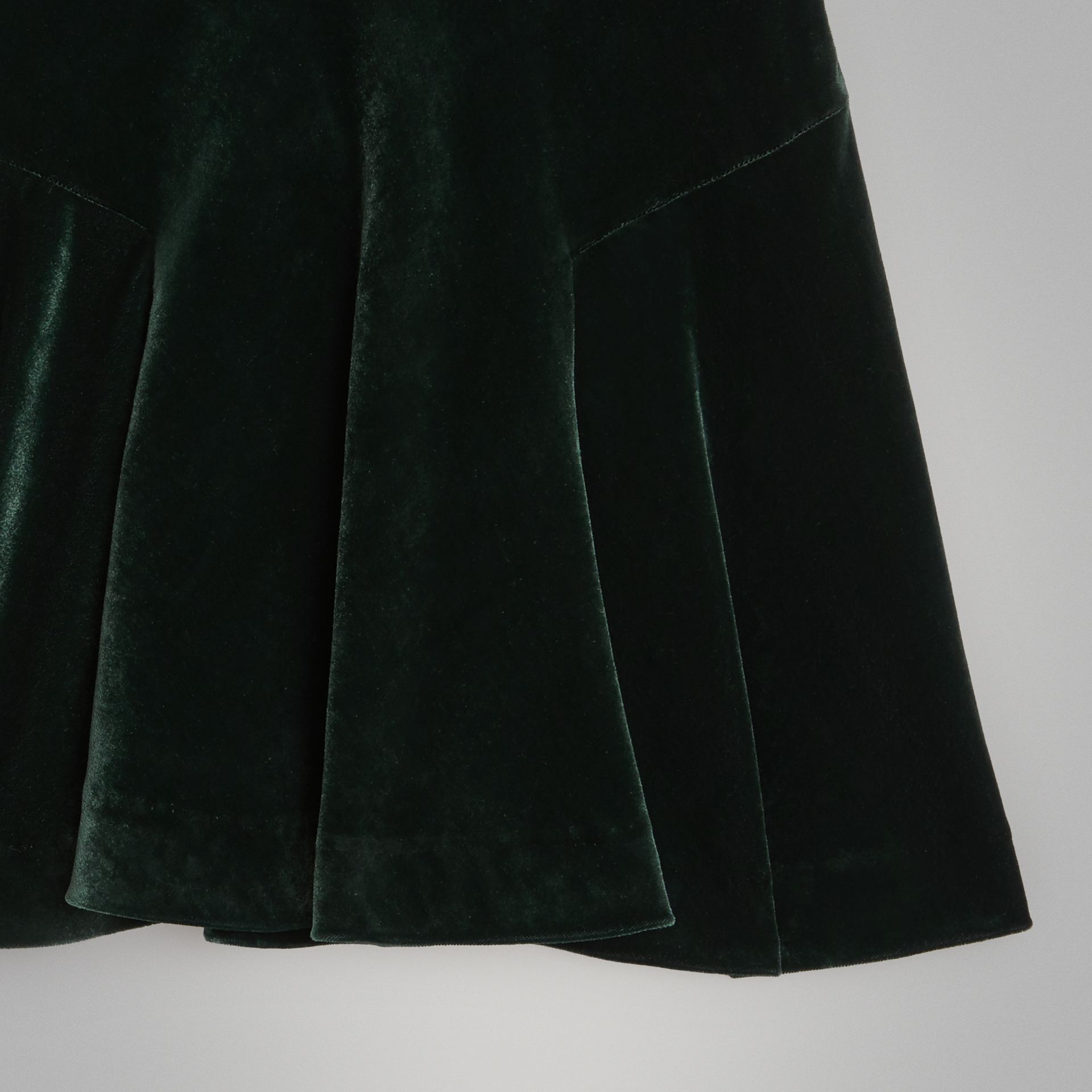 Velvet Flared Skirt in Dark Forest Green | Burberry - gallery image 4