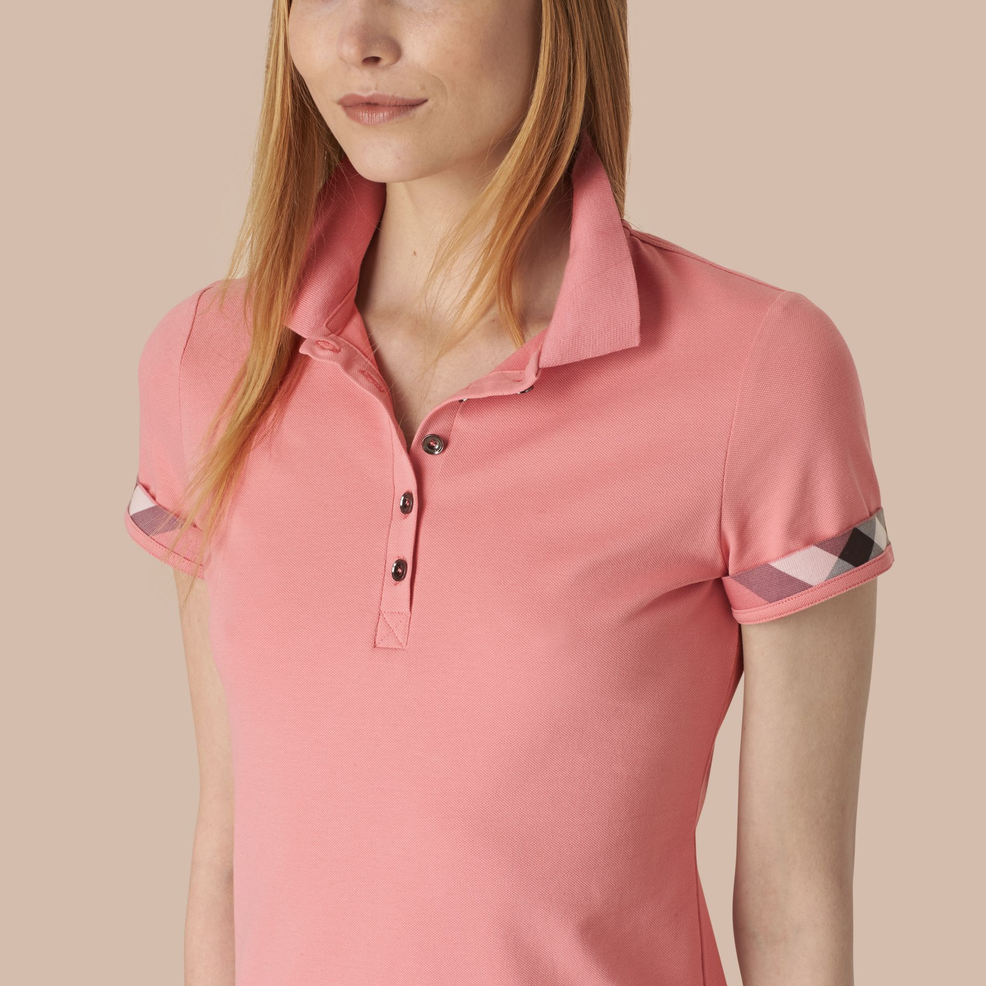 Check Trim Stretch Cotton Piqué Polo Shirt Carnation Pink - gallery image 4