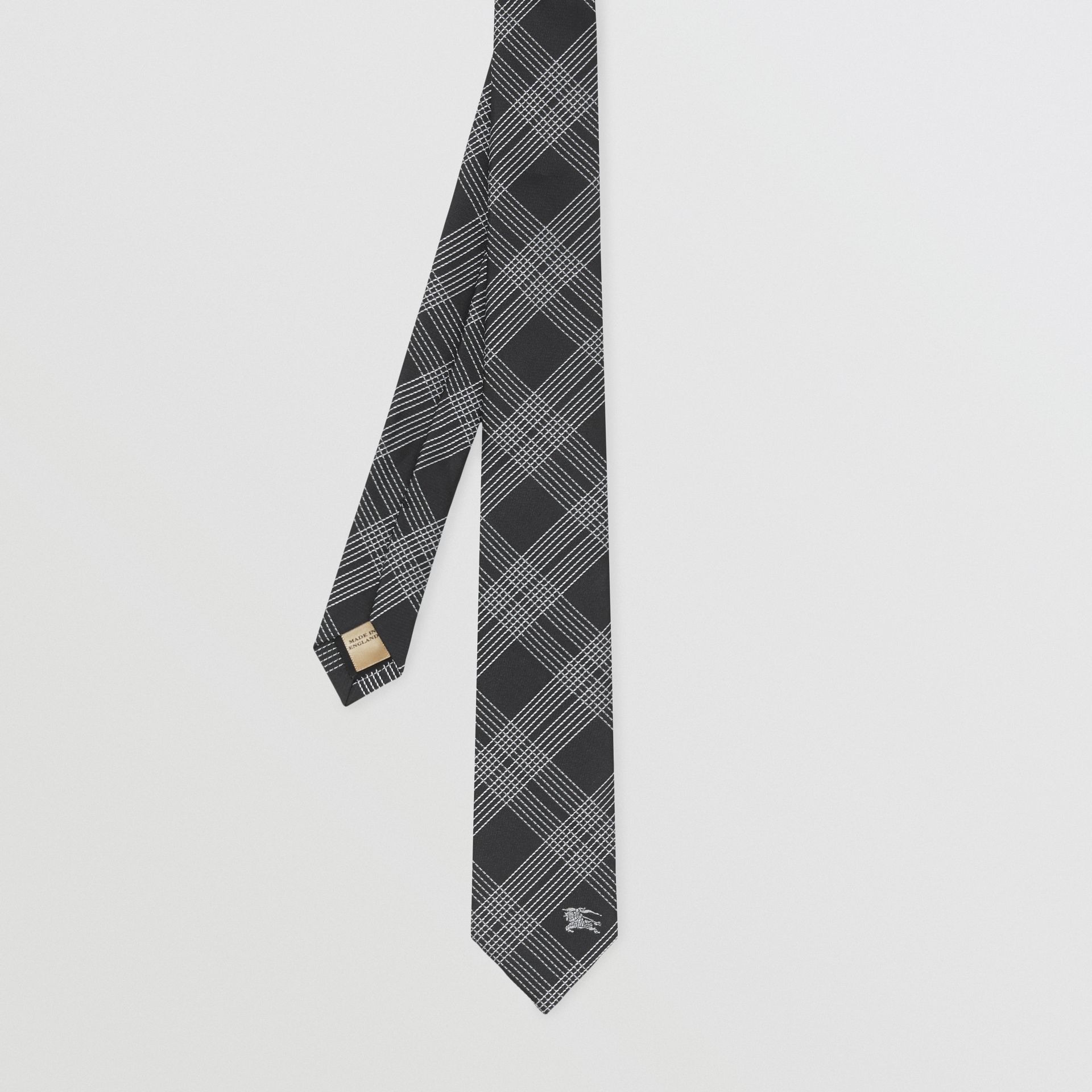 Modern Cut Check Silk Jacquard Tie in Black - Men | Burberry - gallery image 3