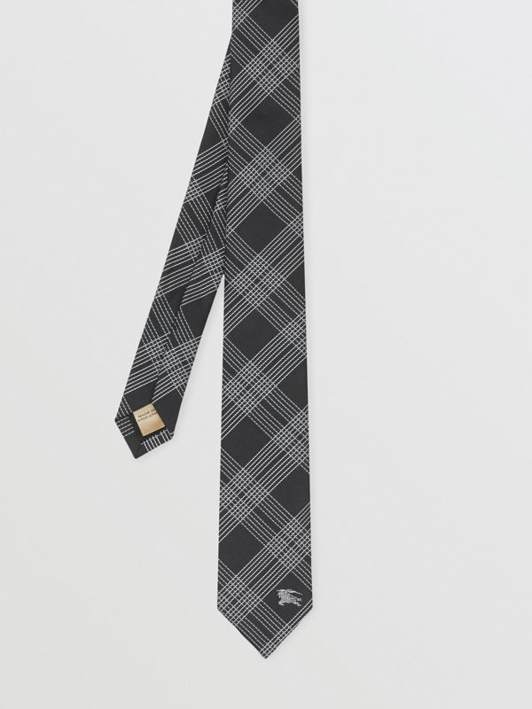Modern Cut Check Silk Jacquard Tie in Black - Men | Burberry - cell image 3