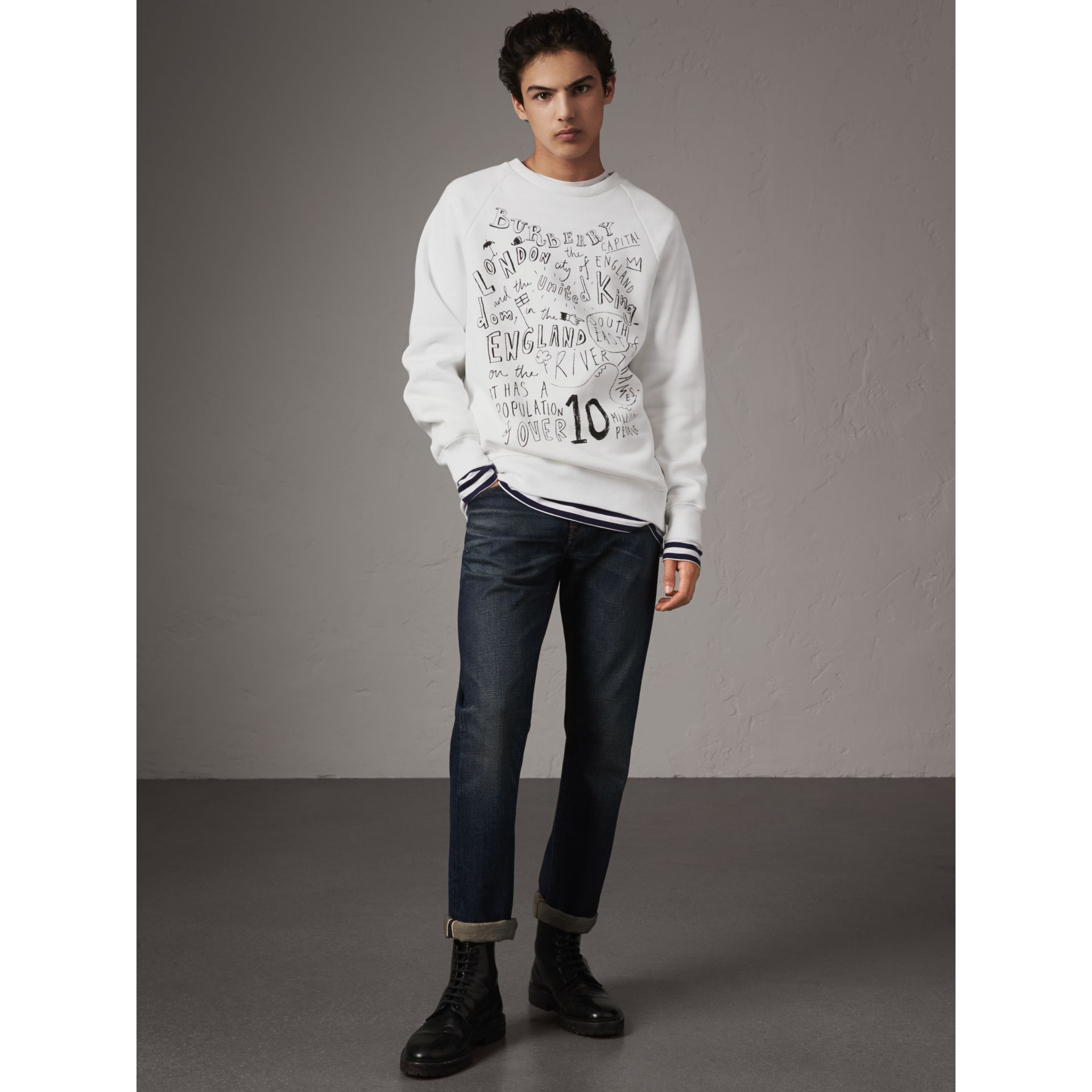 London Icons Print Sweatshirt in White - Men | Burberry - gallery image 5