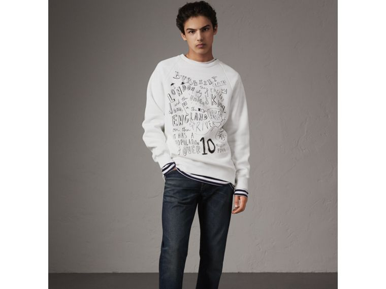 London Icons Print Sweatshirt in White - Men | Burberry - cell image 4