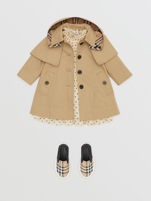 Detachable Hood Showerproof Cotton Swing Coat in Honey - Children | Burberry - cell image 2