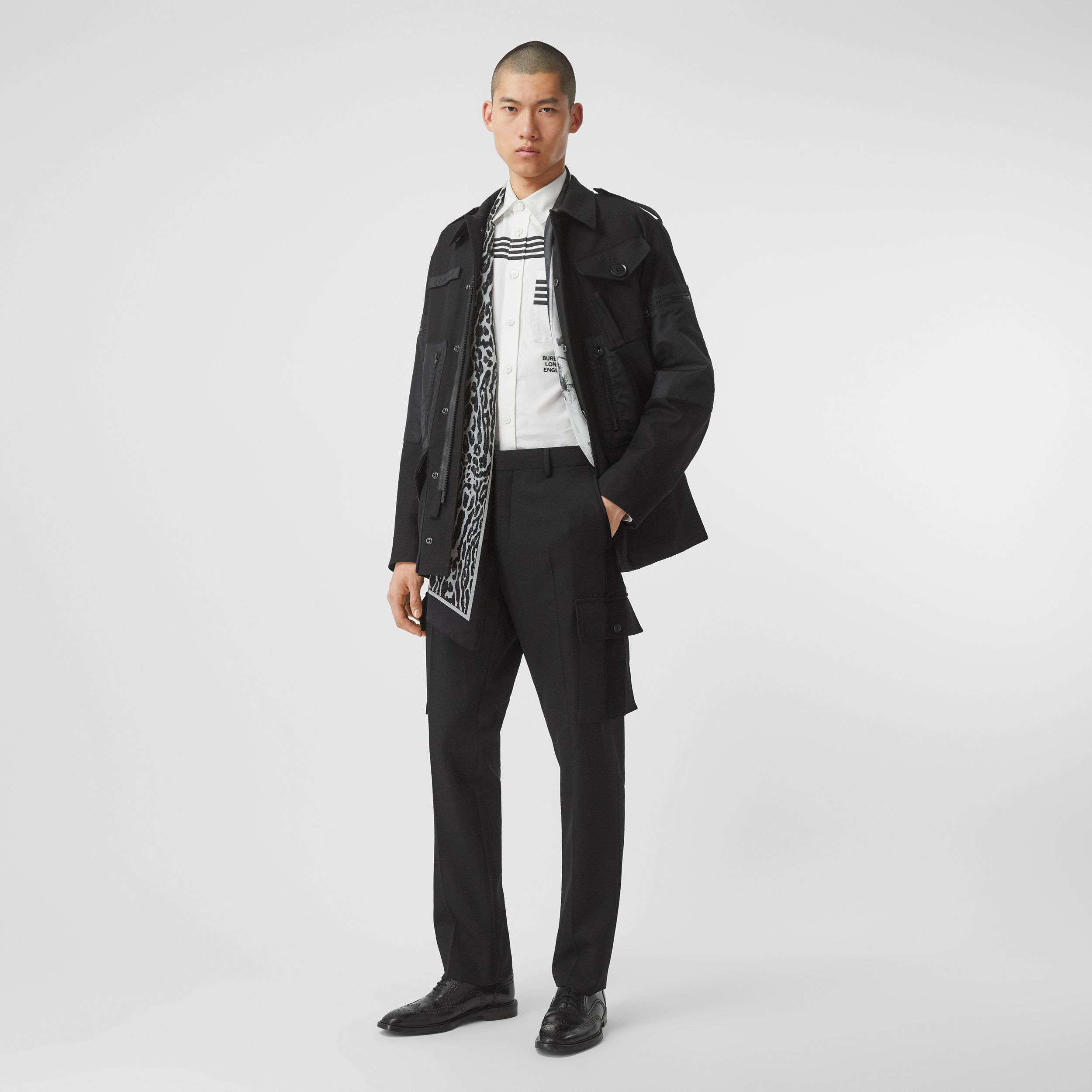 Classic Fit Velvet Trim Wool Tailored Trousers in Black - Men | Burberry - 1
