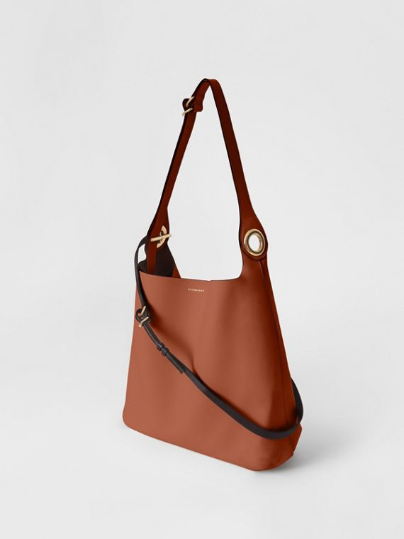 The Leather Grommet Detail Bag in Tan