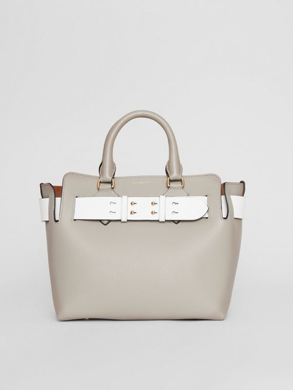 The Small Tri-tone Leather Belt Bag in Mineral Grey