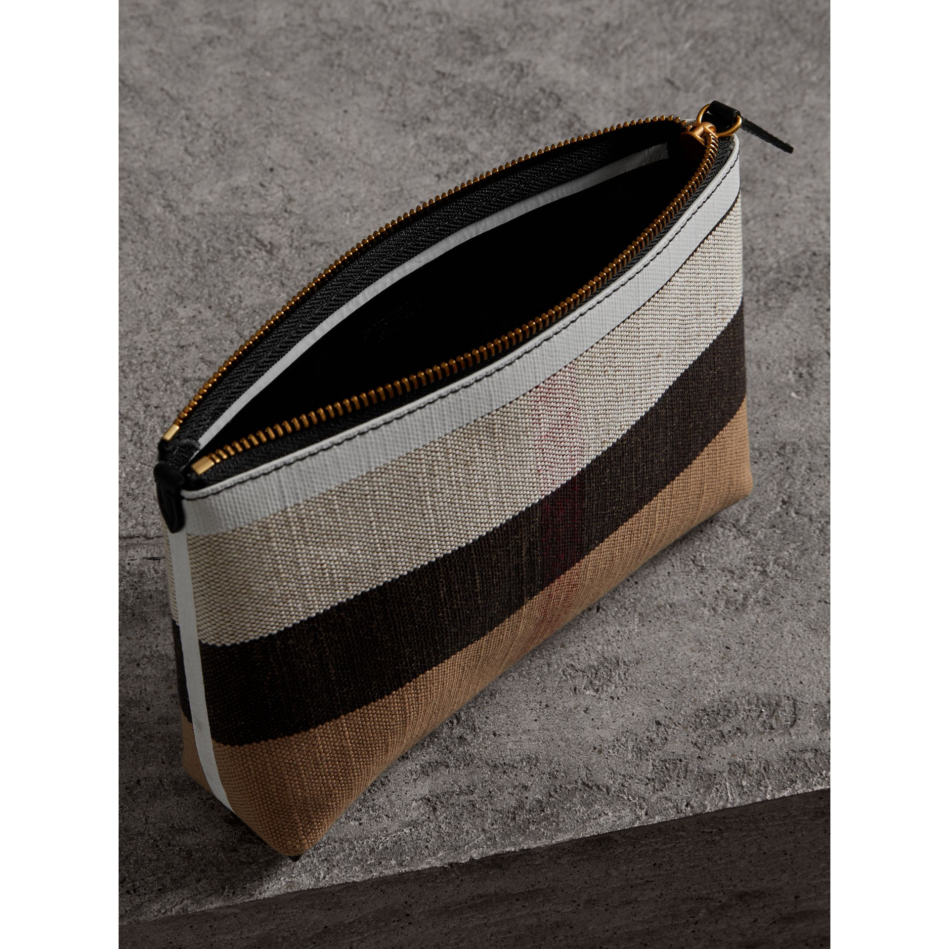 Medium Canvas Check and Leather Zip Pouch in Black/white - Women | Burberry Hong Kong - gallery image 5