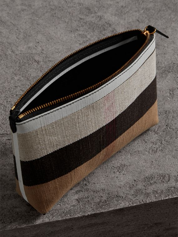 Medium Canvas Check and Leather Zip Pouch in Black/white - Women | Burberry - cell image 3
