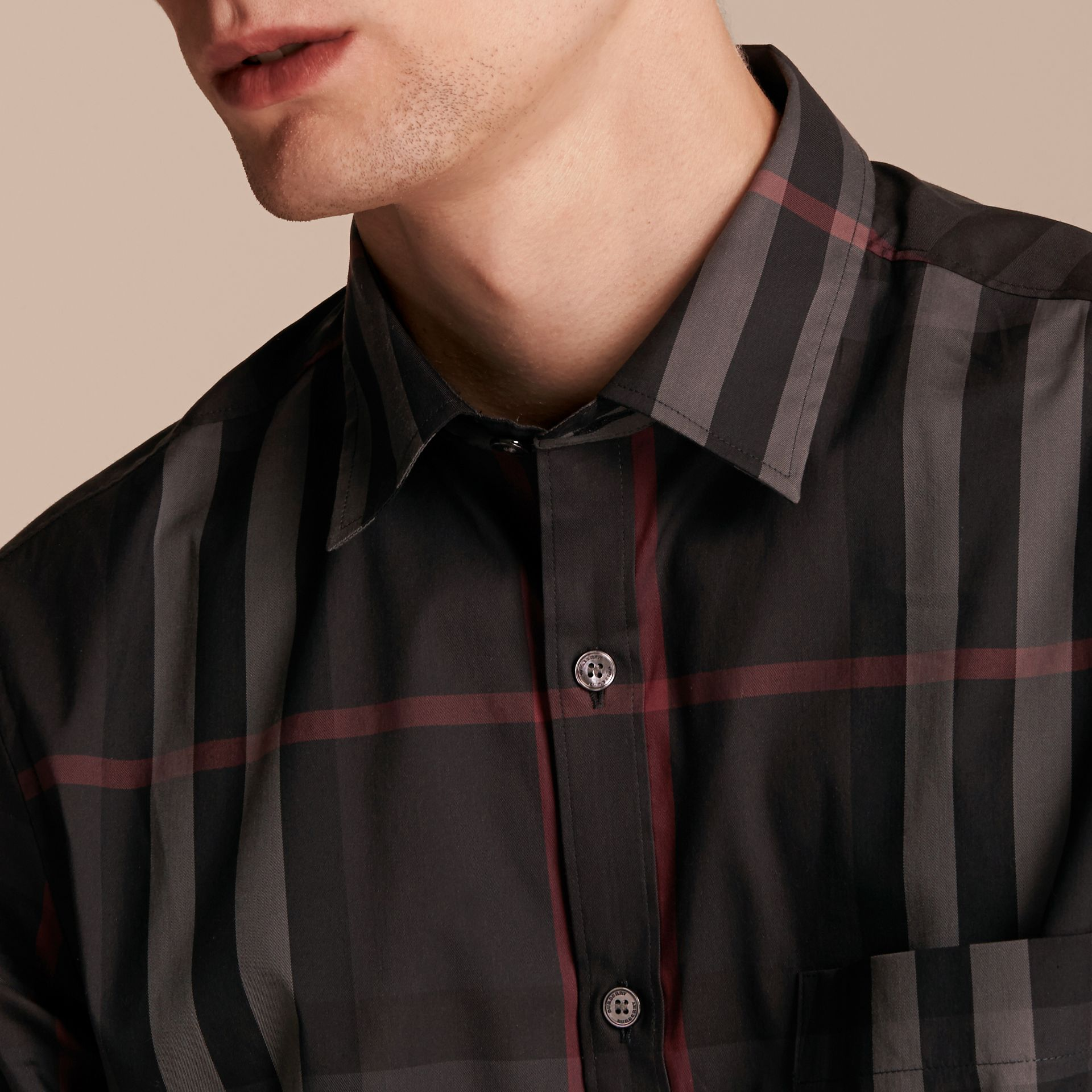 Check Stretch Cotton Shirt Dark Charcoal - gallery image 5