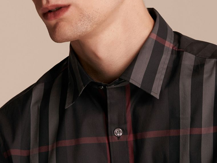 Check Stretch Cotton Shirt in Dark Charcoal - Men | Burberry - cell image 4