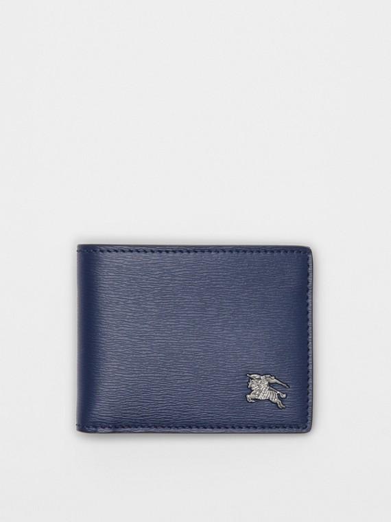 Carteira dobrável de couro London (Azul Marinho)