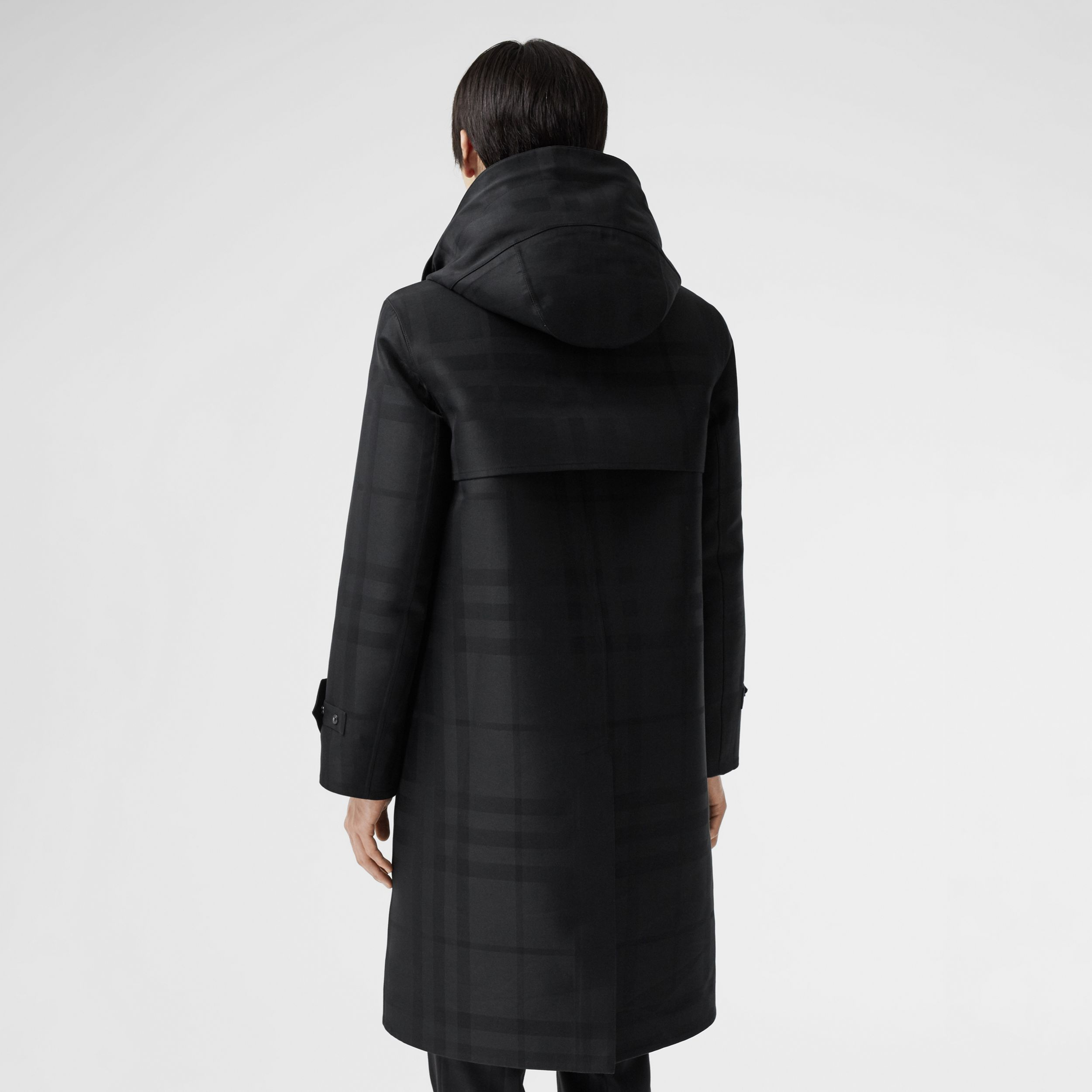 Globe Graphic Detail Check Technical Cotton Coat in Black - Men | Burberry - 3