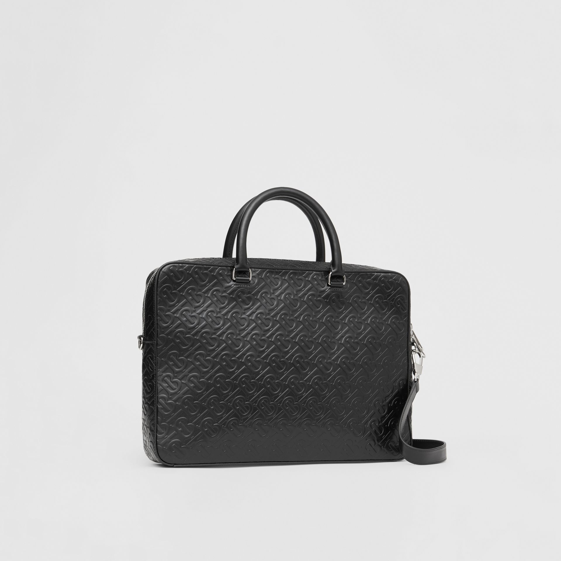 Monogram Leather Briefcase in Black - Men | Burberry - gallery image 6