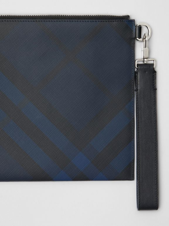 London Check Zip Pouch in Navy/black - Men | Burberry Australia - cell image 1