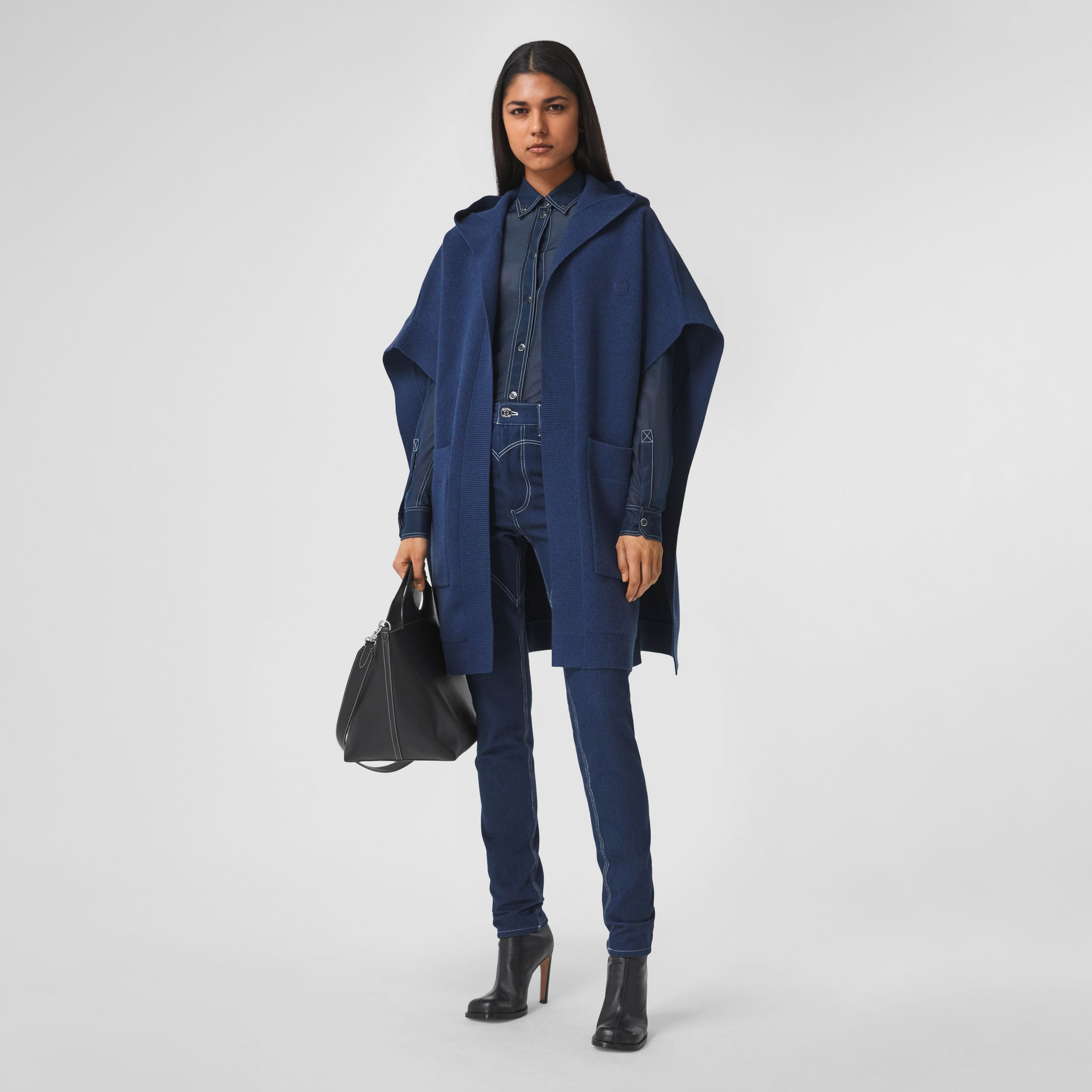 Monogram Motif Cashmere Blend Hooded Cape in Ink Blue - Women | Burberry - 1