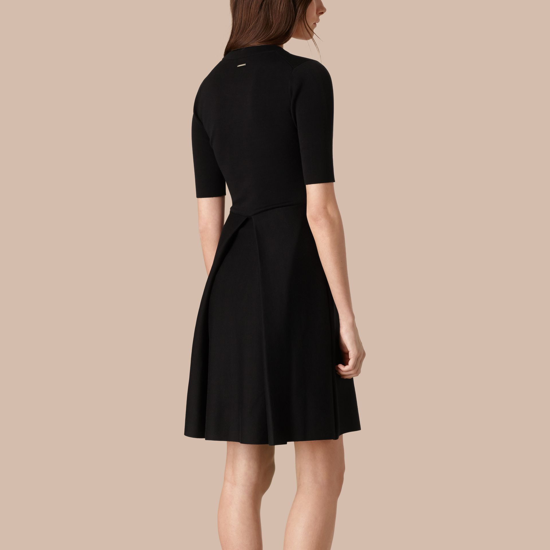 Black Knitted Silk Wool Dress Black - gallery image 3