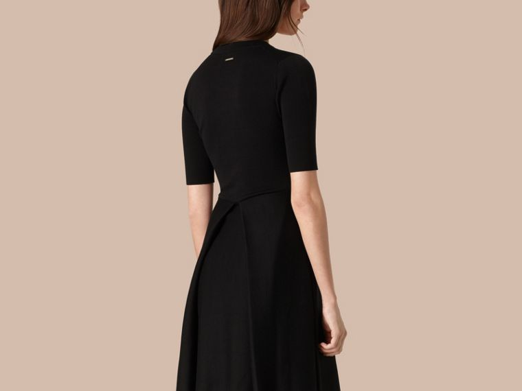 Black Knitted Silk Wool Dress Black - cell image 2