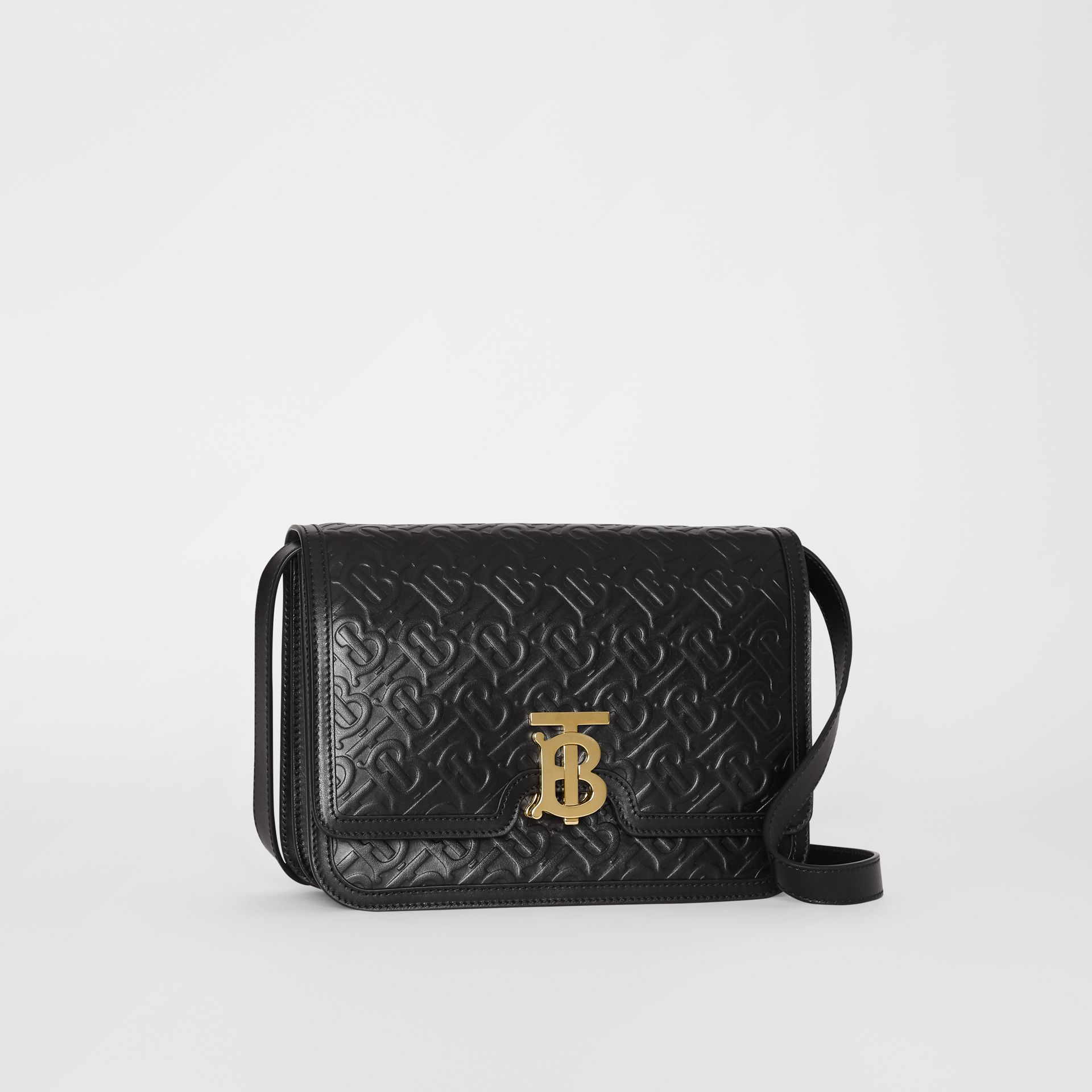 Medium Monogram Leather TB Bag in Black - Women | Burberry Canada - gallery image 6