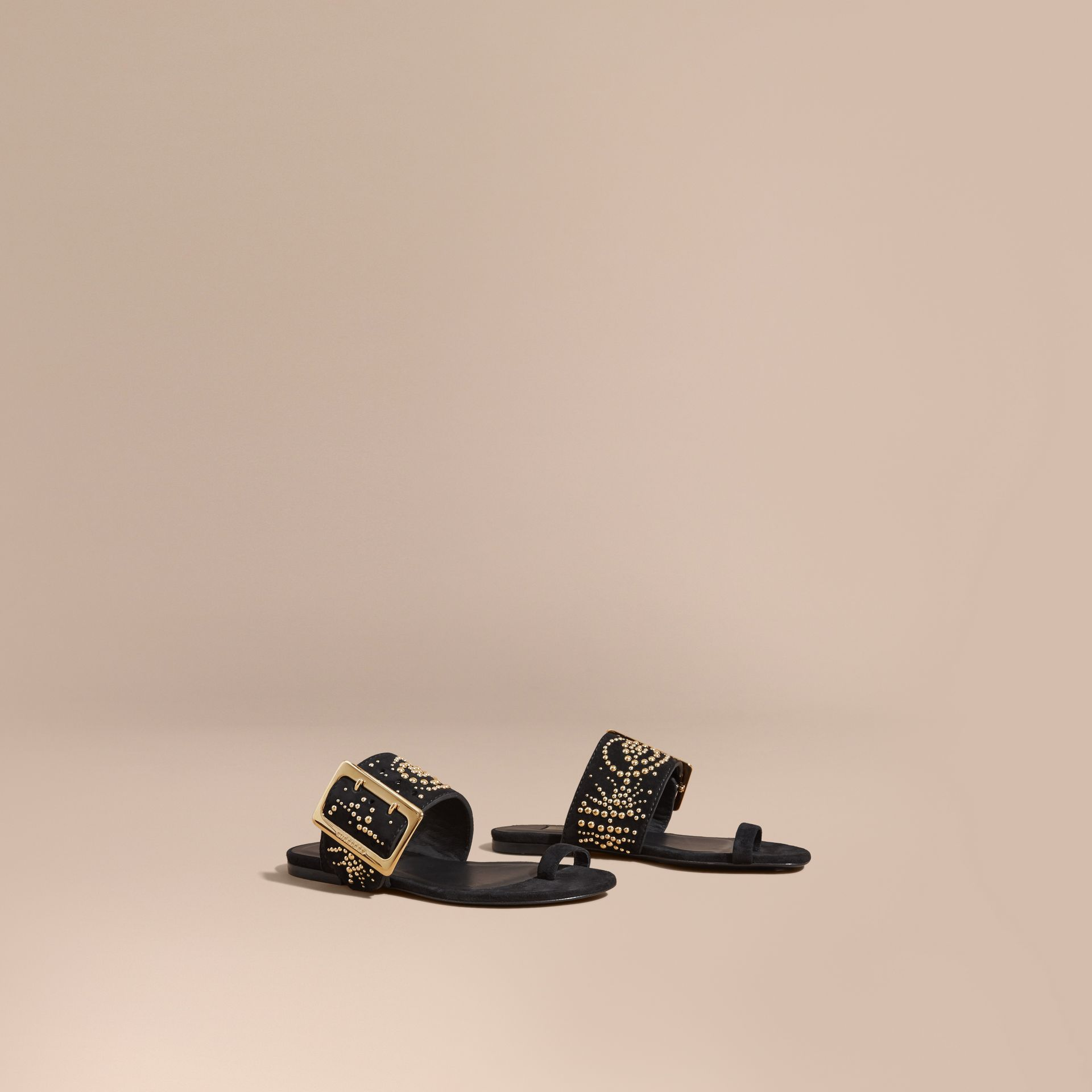 Studded Suede Sandals with Buckle Detail in Black - Women | Burberry - gallery image 1