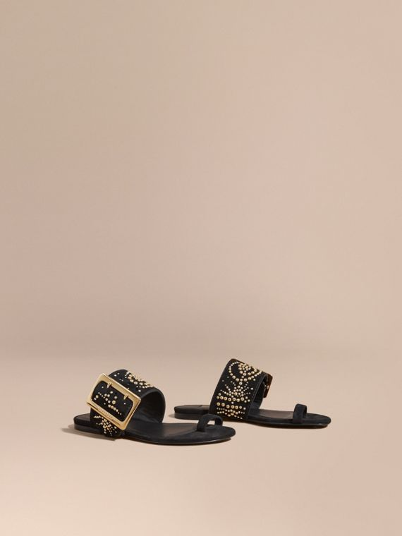 Studded Suede Sandals with Buckle Detail