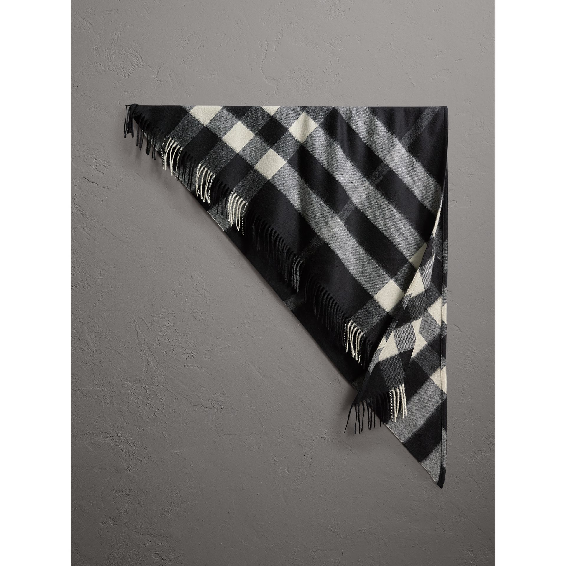 The Burberry Bandana in Check Cashmere in Black | Burberry United Kingdom - gallery image 1