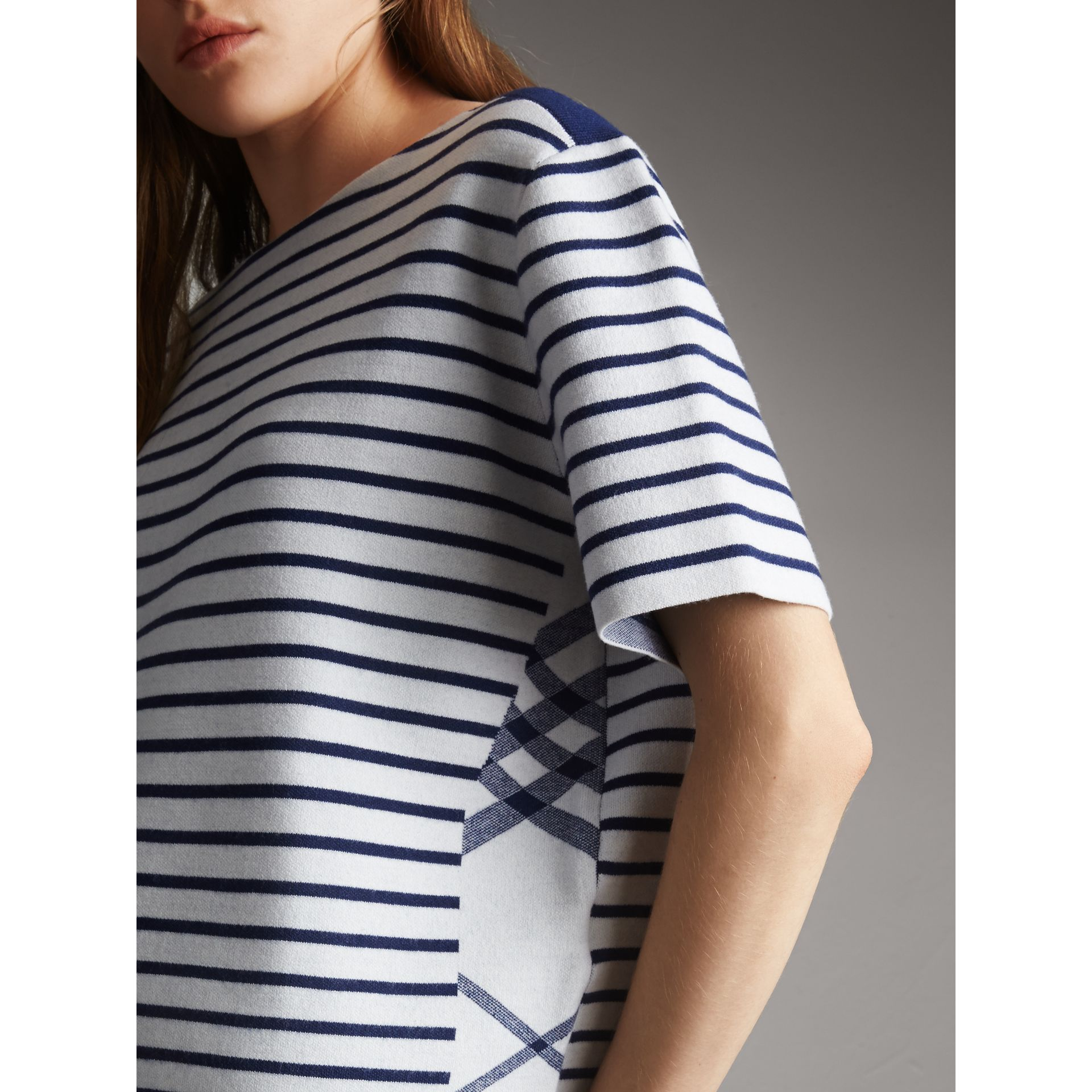 Check and Stripe Knitted Wool Blend T-shirt in Bright Navy - Women | Burberry United Kingdom - gallery image 2