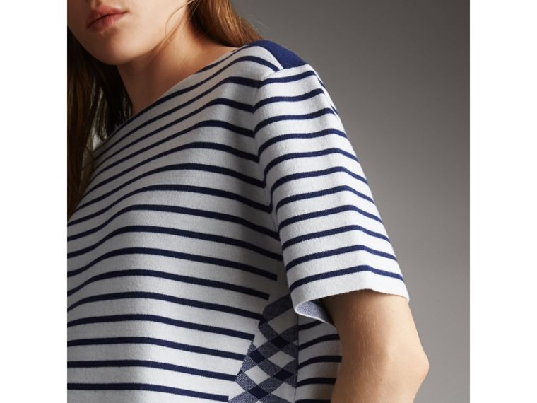 Check and Stripe Knitted Wool Blend T-shirt in Bright Navy - Women | Burberry United Kingdom - cell image 1