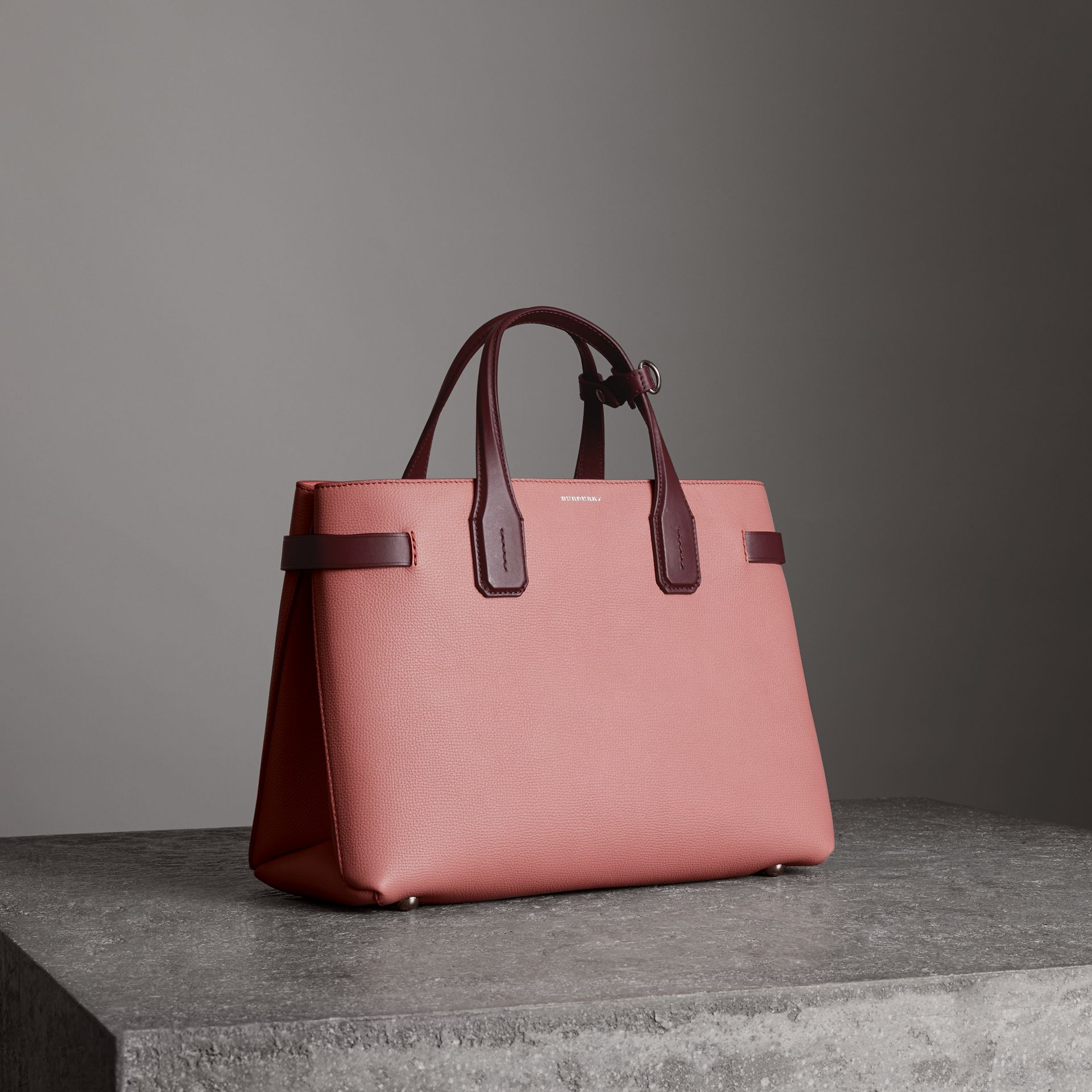 The Medium Banner in Two-tone Leather in Dusty Rose/deep Claret - Women | Burberry United States - gallery image 0