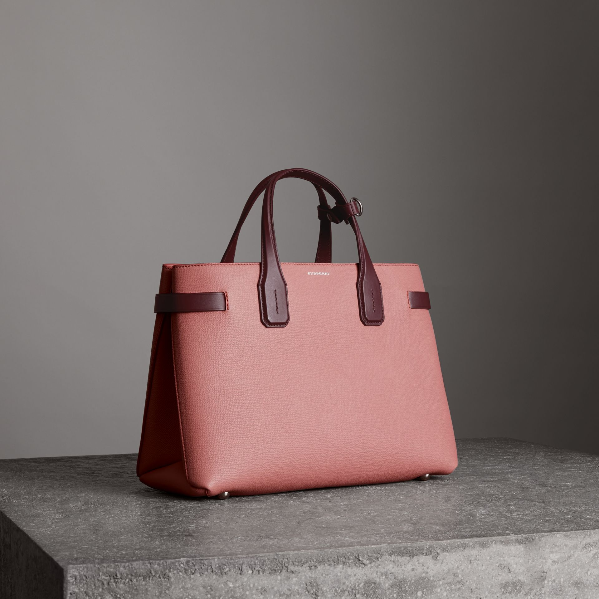Burberry The Medium Banner In Two-Tone Leather In Pink   ModeSens 3f78d2ec8b