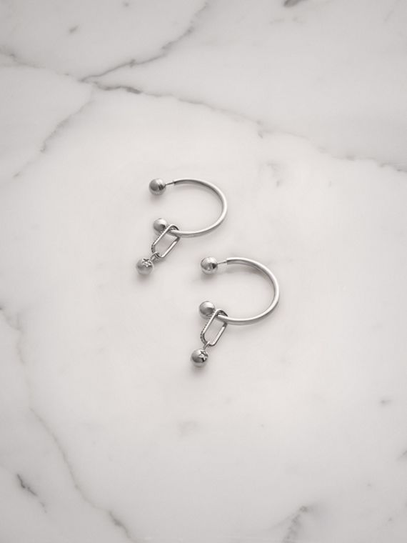 Crystal Charm Palladium-plated Hoop Earrings in Palladio/crystal