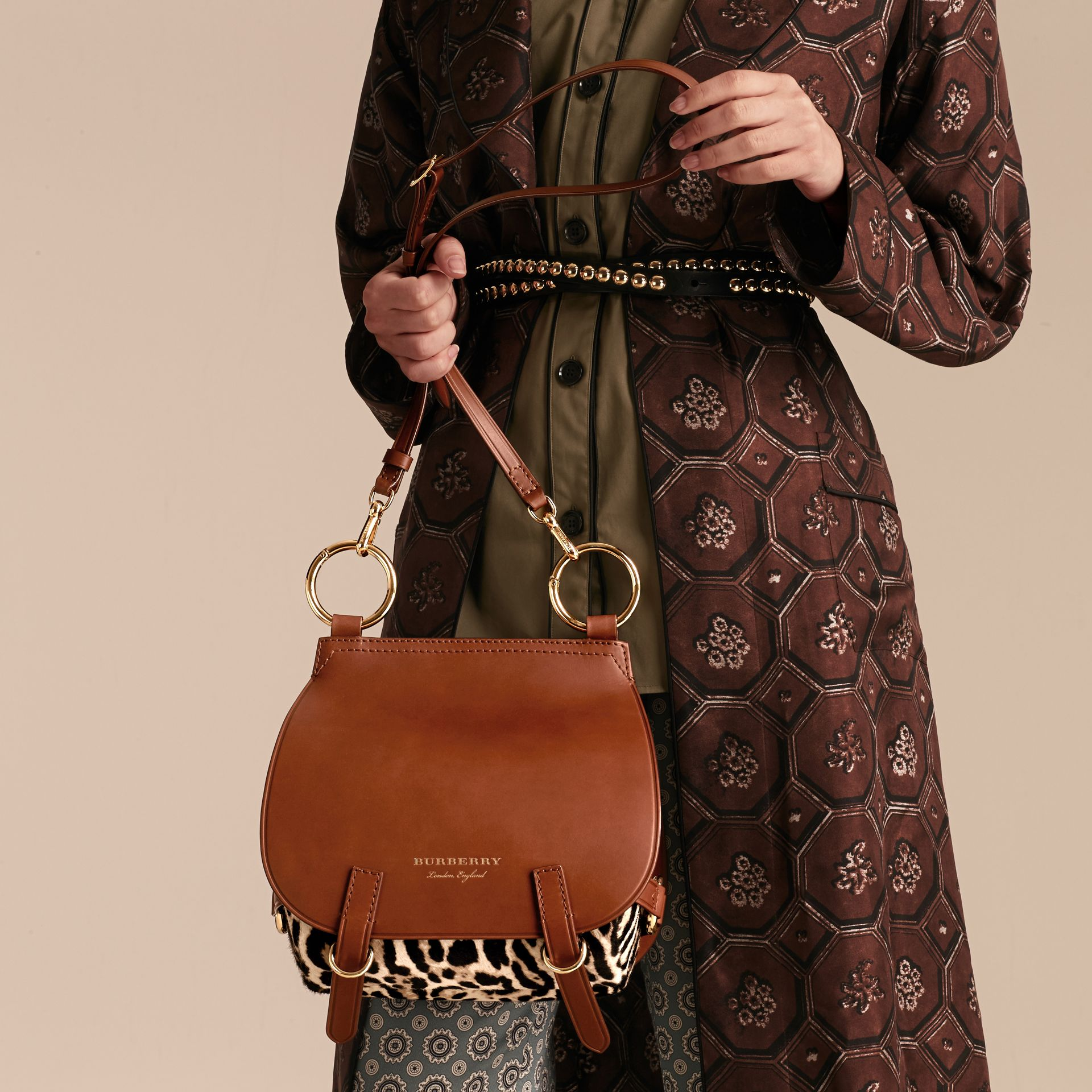 The Bridle Bag in Leopard-print Calfskin and Leather in Tan - Women | Burberry - gallery image 4