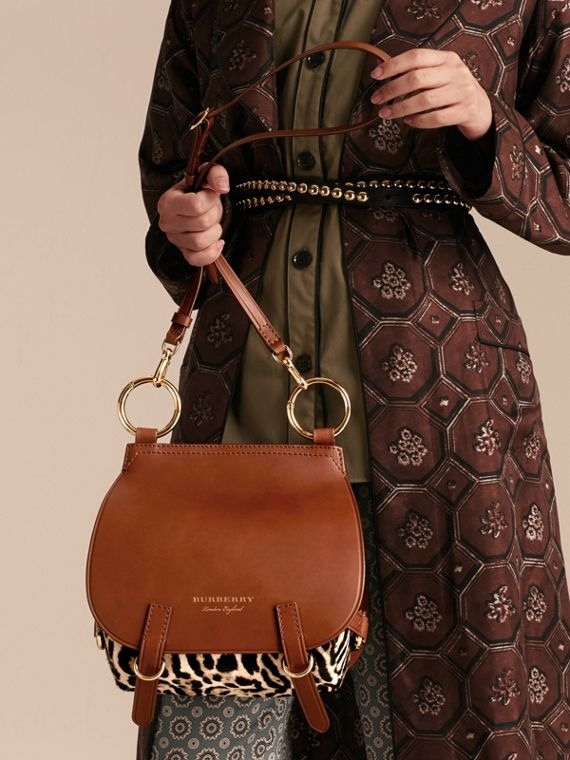 The Bridle Bag in Leopard-print Calfskin and Leather in Tan - Women | Burberry - cell image 3