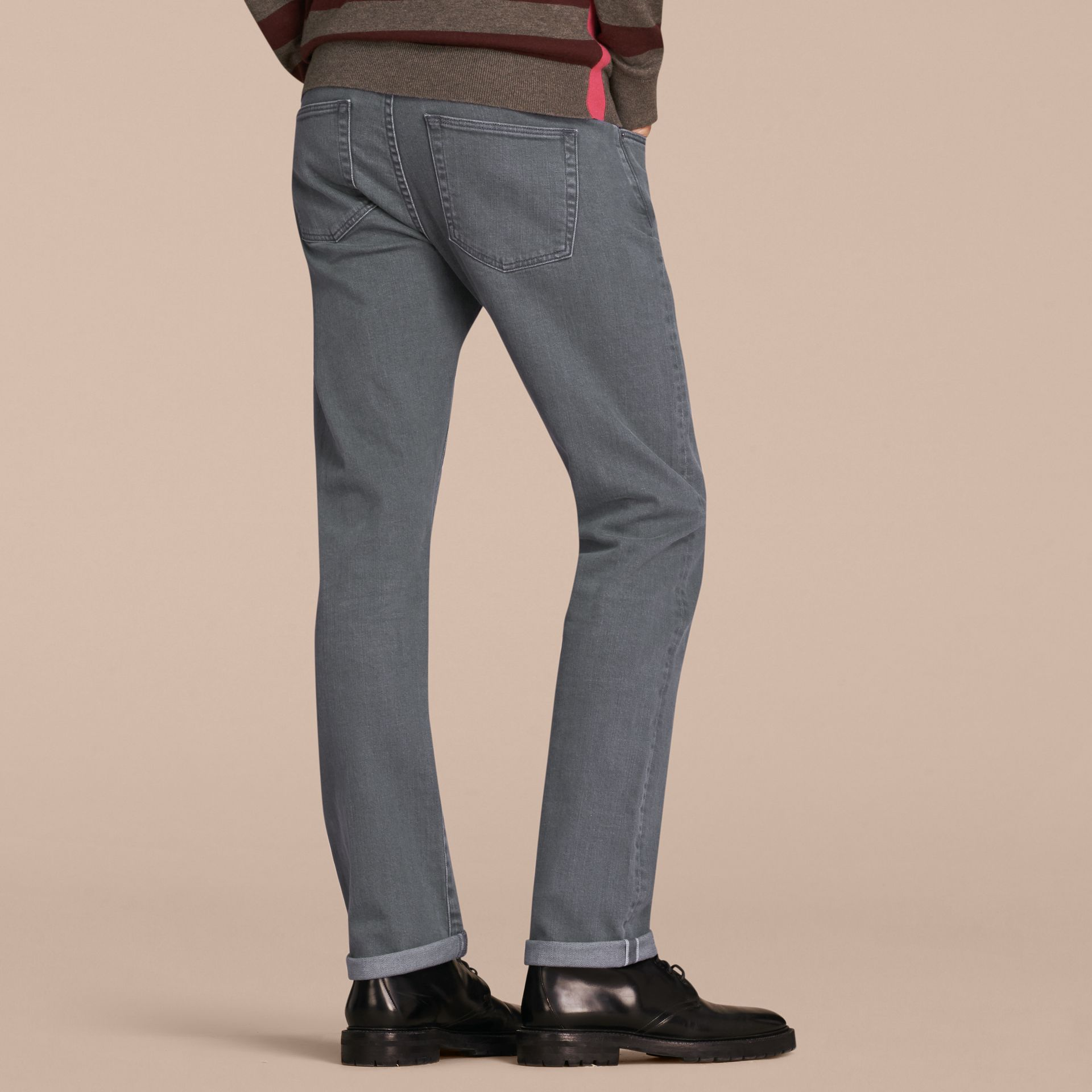 Dark grey Straight Fit Japanese Selvedge Denim Jeans - gallery image 3