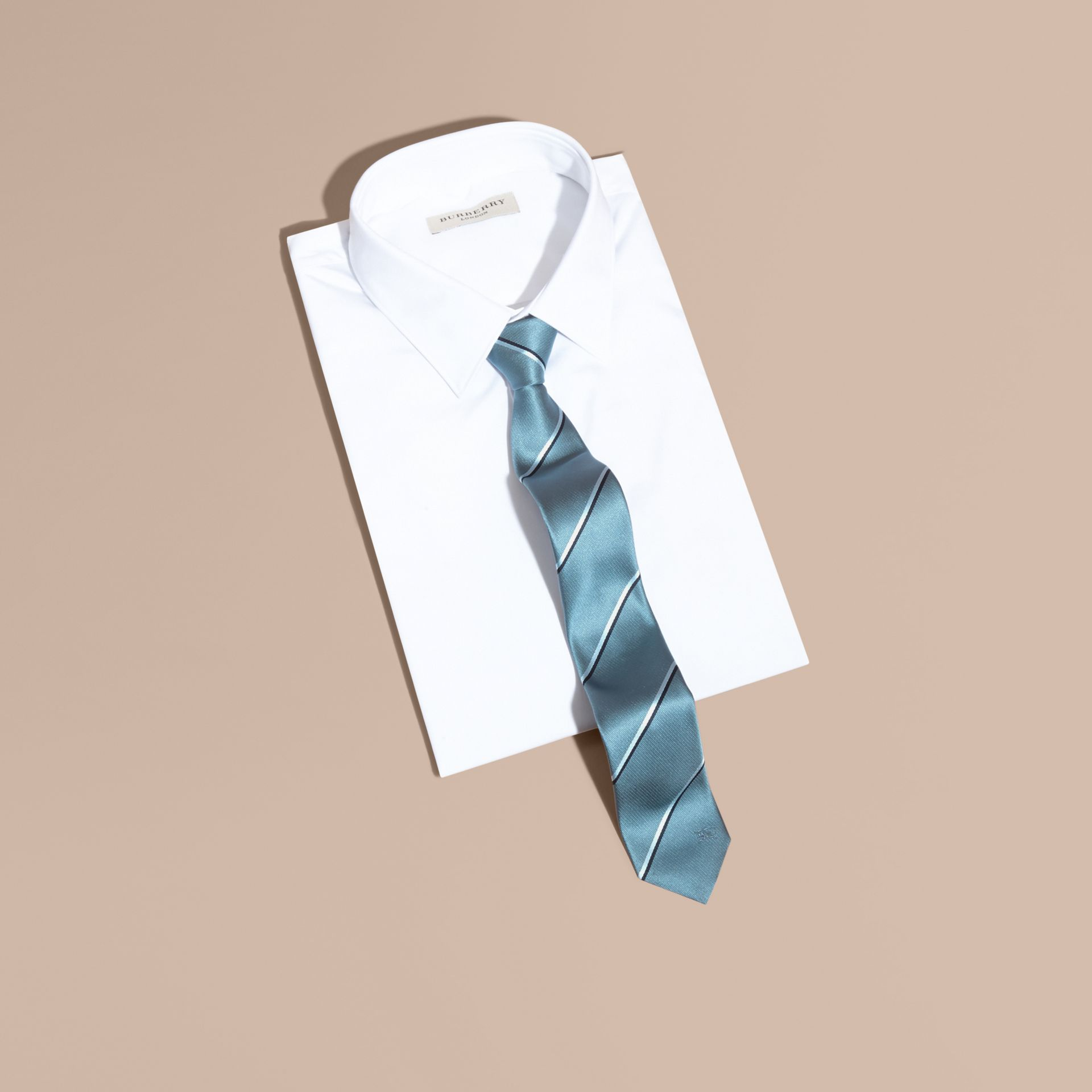 Slim Fit Striped Silk Tie in Light Blue - gallery image 3