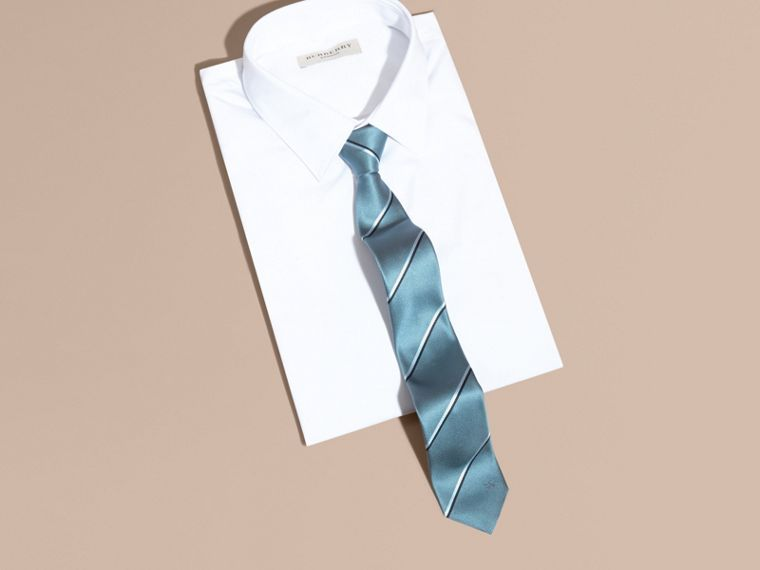 Slim Fit Striped Silk Tie in Light Blue - cell image 2